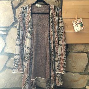 Knox Rose Mixed Print Sweater Cardigan